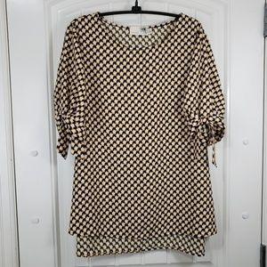 Geometric Tie Sleeve Tunic Top, XL